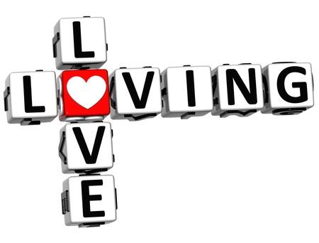 3D Love Loving Crossword on white background photo