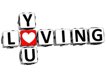 3D You Loving Crossword on white background photo