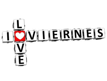 3D I Love Friday in Spanish Language Crossword on white background photo