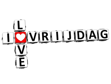 3D I Love Friday in Dutch Language Crossword on white background photo