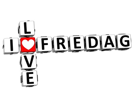 3D I Love Friday in Norwegian Language Crossword on white background photo