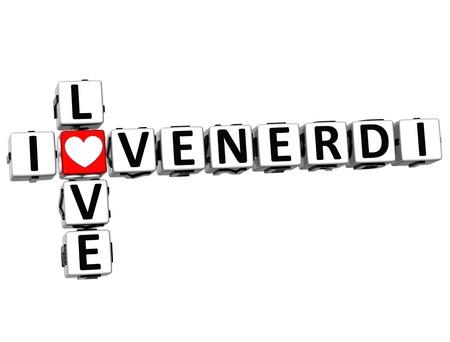3D I Love Friday in Italian Language Crossword on white background photo