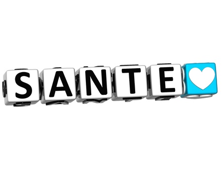 sante: 3D Health In French Language Button Click Here Block Text over white background