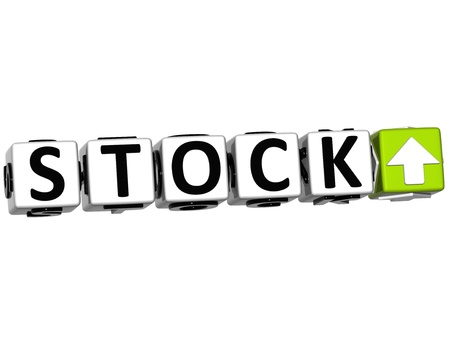 3D Stock Button Click Here Block Text over white background Stock Photo - 14378076