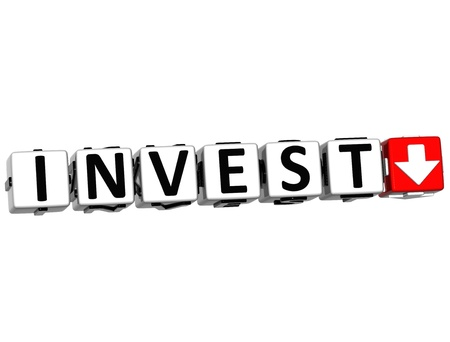 3D Invest Button Click Here Block Text over white background Stock Photo - 14377949