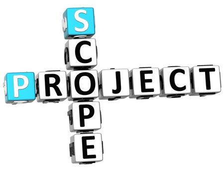 白い背景の上の 3 D のスコープ プロジェクト クロスワード