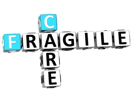 3D Care Fragile Crossword on white background photo