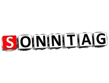 sonntag: Dominical 3D en el bot�n de alem�n Aqu� Haga clic en Bloquear texto sobre fondo blanco