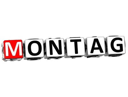 sonntag: 3D Monday In German Language Button Click Here Block Text over white background