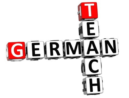 ling: 3D Teach German Crossword on white background Stock Photo