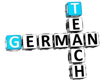 ling: 3D Teach German Crossword on white background Stock Photo
