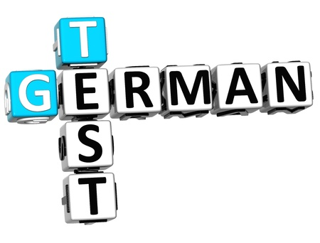 3D German Test Crossword on white background photo