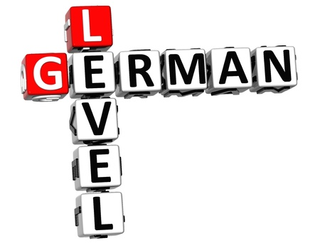 3D German Level Crossword on white background photo