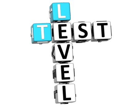 3D Test Level Crossword on white background Stock Photo - 14378237