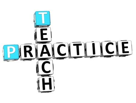 3D Teach Practice Crossword on white background Stock Photo - 14378279