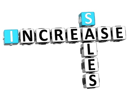 3D Sales Increase Crossword on white background