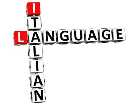 3D Italian Language Crossword on white background photo