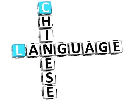 3D Chinese Language Crossword on white background photo