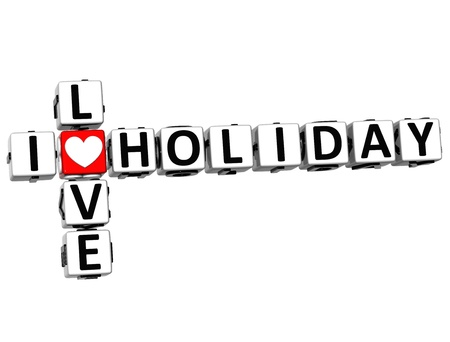 3D I Love Holiday Crossword on white background photo