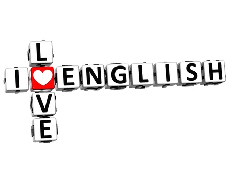 english text: 3D I Love English Crossword on white background