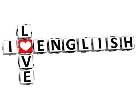3D I Love English Crossword on white background