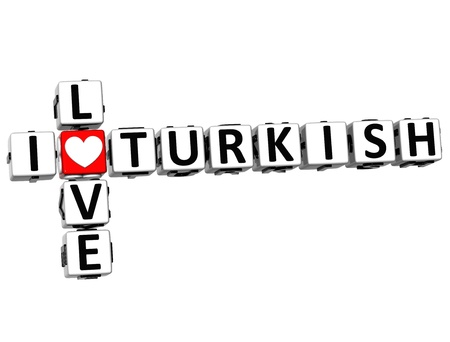 ling: 3D I Love Turkish Crossword on white background Stock Photo