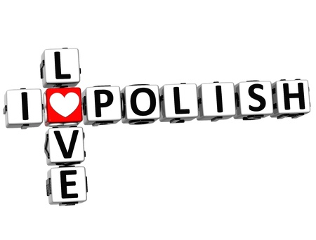 3D I Love Polish Crossword on white background photo