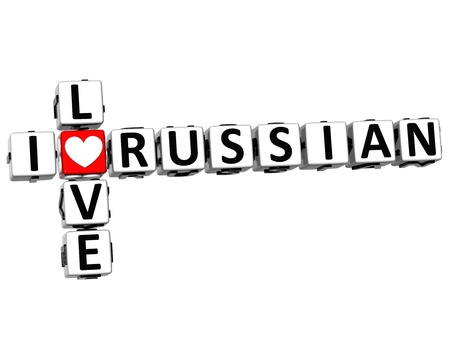 3D I Love Russian Crossword on white background photo