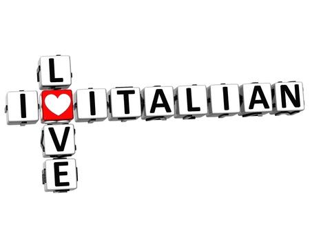 3D I Love Italian Crossword on white background photo