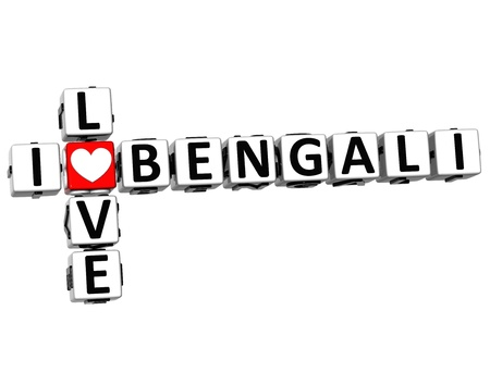 3D I Love Bengali Crossword on white background photo