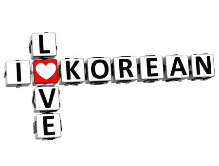ling: 3D I Love Korean Crossword on white background