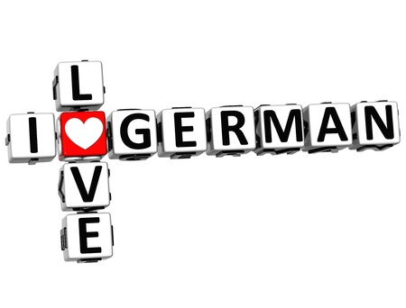 3D I Love German Crossword on white background photo