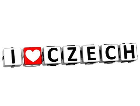 3D I Love Czech Button Click Here Block Text over white background photo
