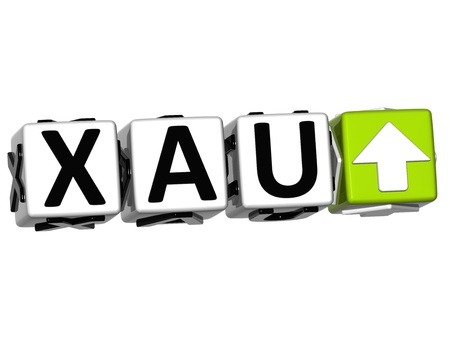 3D XAU Button Click Here Block Text over white background Stock Photo - 14555558