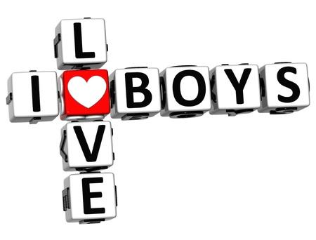 3D I Love Boys Crossword on white background photo