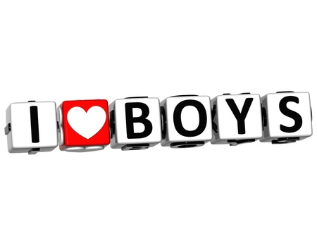 3D I Love Boys Button Click Here Block Text over white background photo
