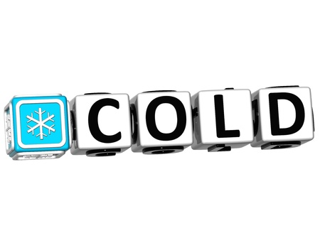 3D Cold Button Click Here Block Text over white background Stock Photo - 14555576