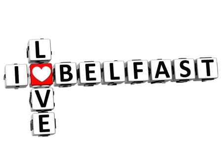 3D I Love Belfast Crossword on white background photo