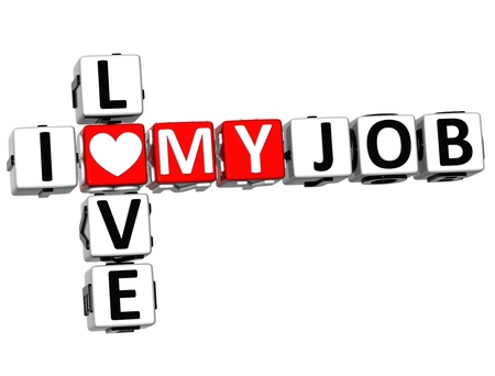 love strategy: 3D I Love My Job Crossword on white background Stock Photo