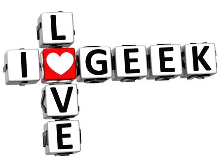 3D I Love Geek Crossword on white background Stock Photo - 15218696