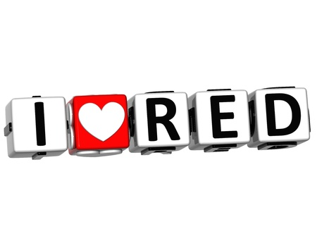 love strategy: 3D I Love Red Button Click Here Block Text over white background
