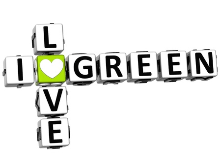love strategy: 3D I Love Green Crossword on white background