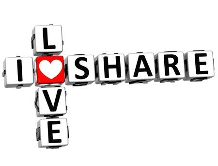 3D I Love Share Crossword on white background Stock Photo - 15218690