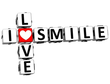 3D I Love Smile Crossword on white background photo