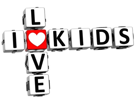 3D I Love Kids Crossword on white background photo