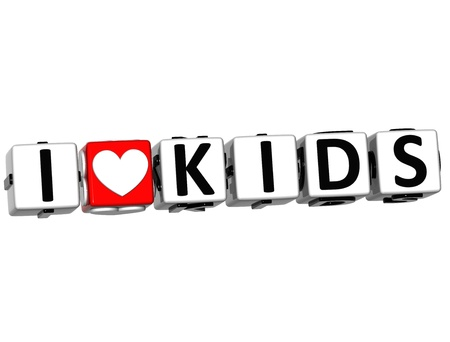 i kids: 3D I Love KIds Button Click Here Block Text over white background Stock Photo