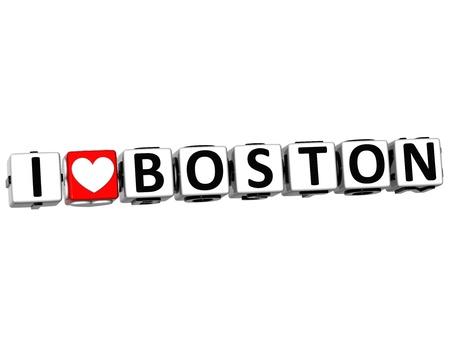 denver: 3D I Love Boston Button Click Here Block Text over white background Stock Photo