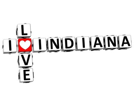 denver: 3D I Love Indiana Crossword on white background