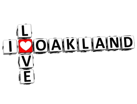 love strategy: 3D I Love Oakland Crossword on white background Stock Photo