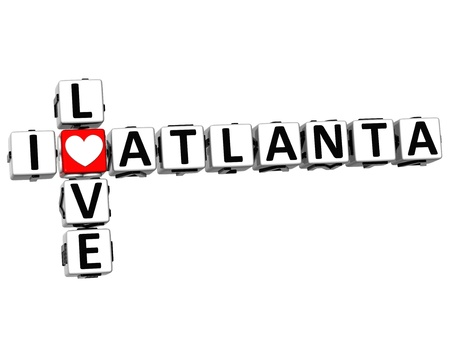 atlanta: 3D I Love Atlanta Crossword on white background